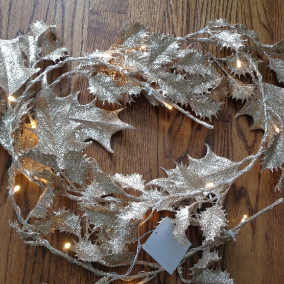 Gold Glitter Holly Christmas Garland Led Light Up Nwt